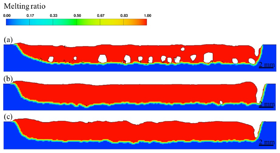 溶接接合_遠隔レーザ溶接_FLOW-3D_WLDによる長手方向断面のポロシティ分布