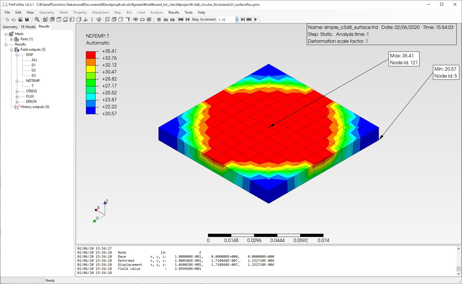 体積発熱機能(*dflux – BF)_CulculiX_温度分布